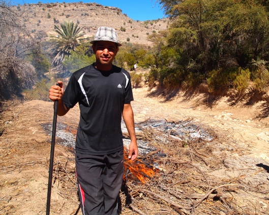 Omani young guy burning plants