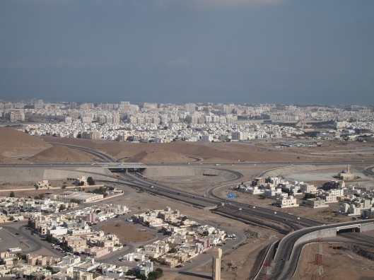 a view of Muscat from the Al Amerat switchbacks