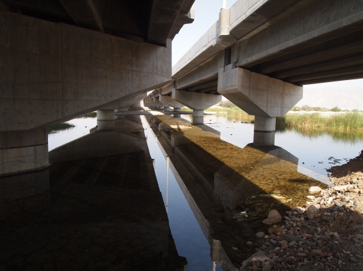 reflections of the bridge from the underside
