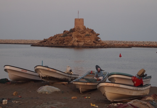 smaller fishing boats and a little watchtower on a peninsula