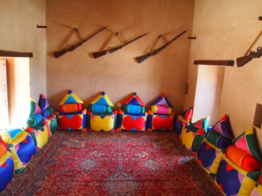 majlis with jewel-colored cushions