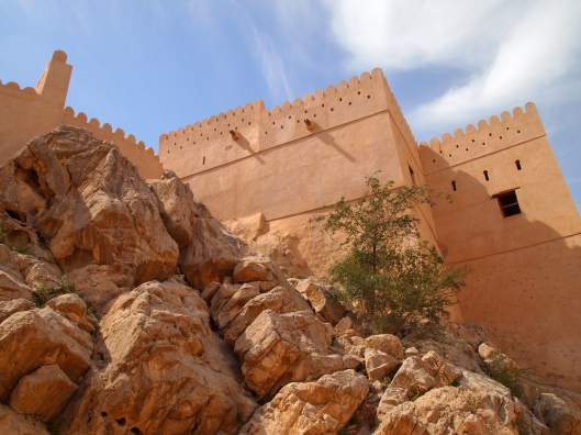 Looking up at Nakhal from inside