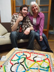 Alex and I play Ticket to Ride in Daegu, South Korea