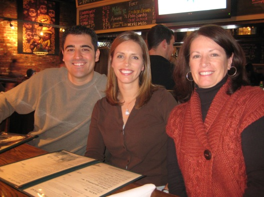 From right to left: Janet (Megan's mother), Megan, and Adam (Megan's husband)