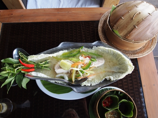 Cambodian lunch of steamed fish with dipping sauces :-)  YUM!!