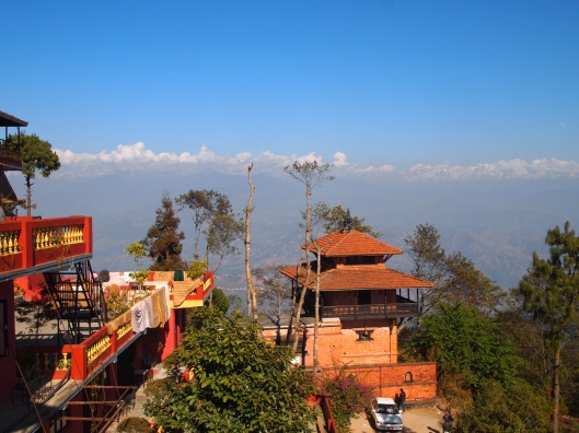 my view of the Langtang Range of the Himalayas during lunchtime in Nagarkot, Nepal