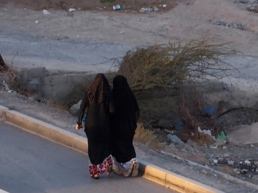 Two of my Omani women neighbors taking a walk down the street