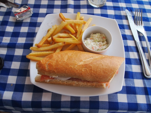 Smoked salmon baguette at the Blue Marlin