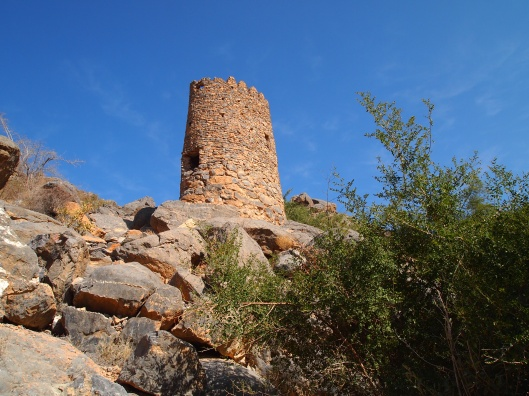 a watchtower that looks over Misfat Al Abriyyin