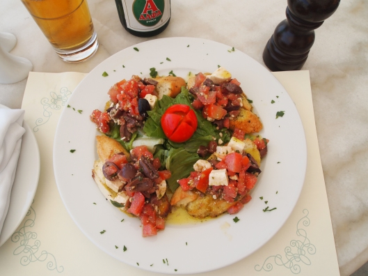 Bruschetta & Greek beer in Fira, Santorini, Greece