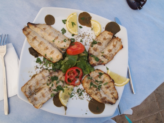 Sardines and capers in Fira, Santorini, Greece.