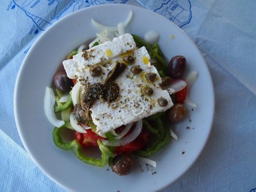 Greek salad for lunch in Akrotirion, Santorini, Greece