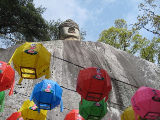 Looking up at the Jebiwon Buddha in Andong, South Korea