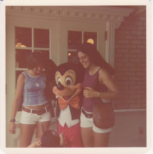 Charlene, Mickey Mouse and Rosie at Disney World, Spring 1974