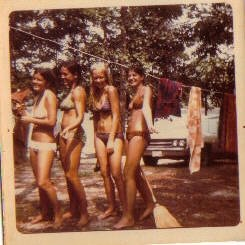 me, Rosie, Louise and Charlene at Lake Gaston, 1973