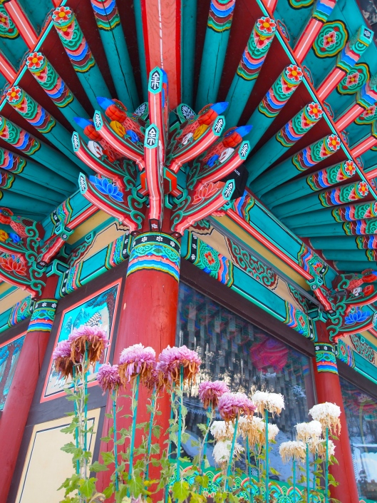 Looking up at a Buddhist temple in Gongju, South Korea