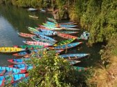 colorful boats in Pokhara, Nepal