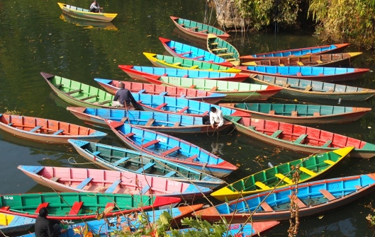 multi-colored boats in Pokhara, Nepal