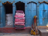 Colorful doors and bedding in Kathmandu, Nepal