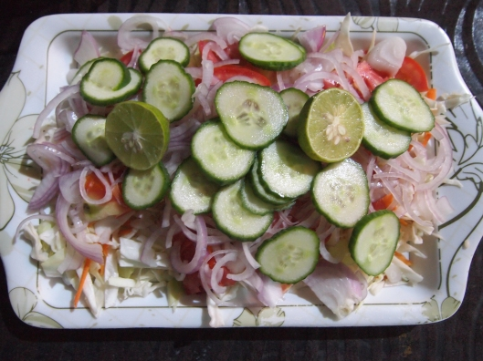 Salad with lime juice
