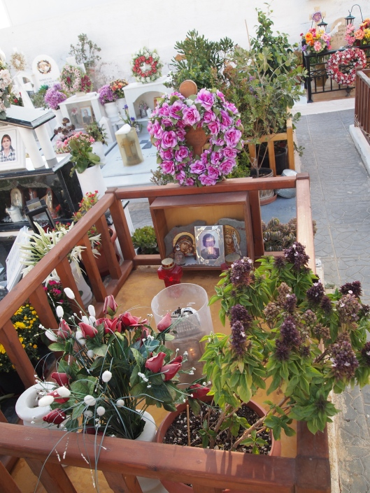 a cemetery in Akrotirion, Santorini, Greece