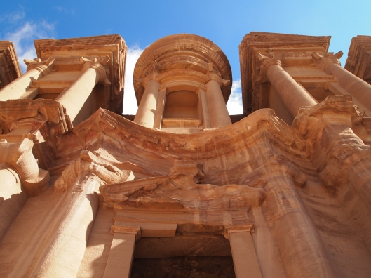 looking up at the Monastery at Petra, Jordan