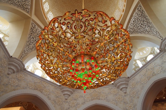 Light at the mosque in Abu Dhabi, UAE