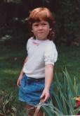 Sarah in her Nana's garden