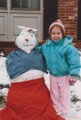 Sarah and her snowman