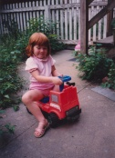 Sarah riding a fire engine??