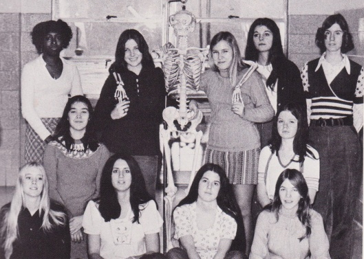 Yearbook staff at York High School: bottom row: Rosie, me, Martha, and Charlene standing back right.