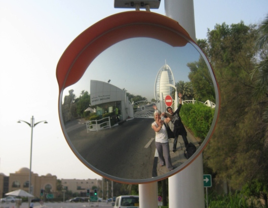Us in the mirror with the Burj Al Arab in the background