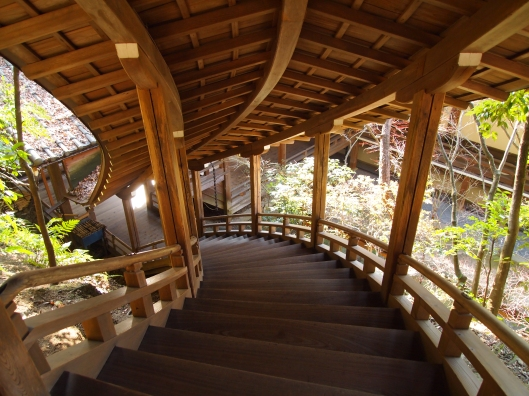 from above: the curving staircase at Eikan-do, Kyoto, Japan