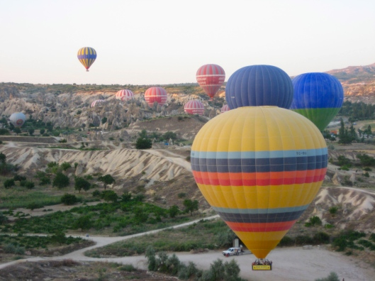 From above in a hot air balloon over Cappadocia, Turkey