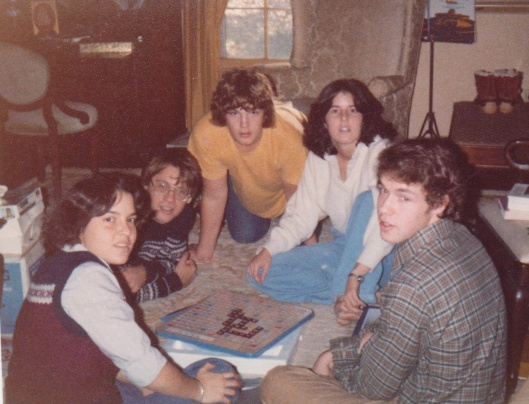 Stephanie, Bill, Robbie, me and Brian playing Scrabble