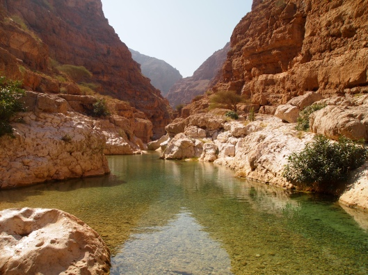 the entrance to the pools at Wadi Shab.   We have to swim back through a number of pools to get to the cave.