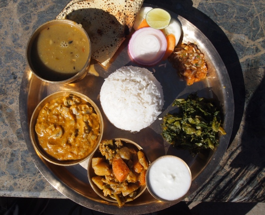 from above: Nepalese Vegetarian food: basmati rice, black lentils, vegetable curry, spinach green curry, pickle, papad (some kind of mushroom curry?), salad and curd.