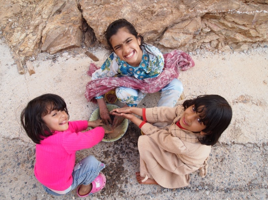 Omani children at Jebel Akhdar, from above