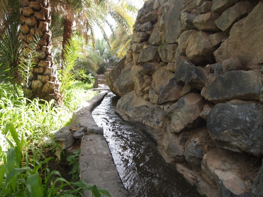 the falaj flows at Misfat al Abriyyen