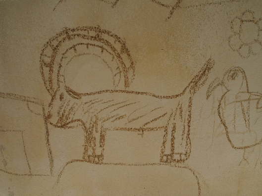 a picture of an Arabian Oryx drawn on a wall