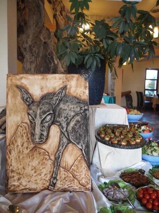appetizers and a little donkey friend