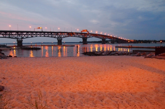 Yorktown Beach with the York River Bridge in the background.  This is my hometown.