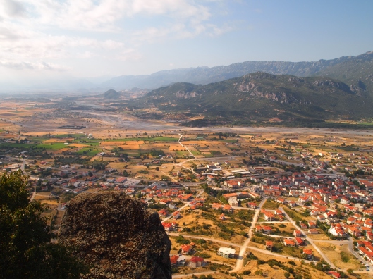 Looking down at Kalambaka from the Monastery of St. Stephen at Meteora, Greece