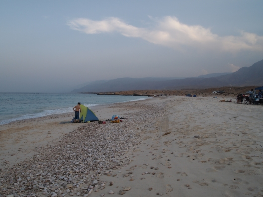 a deserted beach where people camp on the east coast of Oman