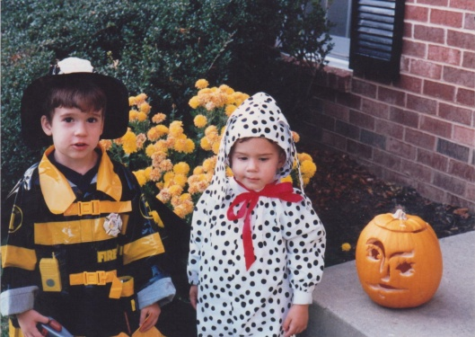 Alex as fireman & Adam as Dalmatian for Halloween