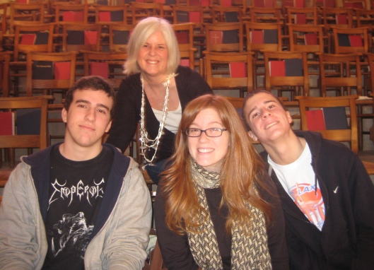 me with my three children at Christmas, two months before leaving for Korea.  In front, Alex, Sarah and Adam