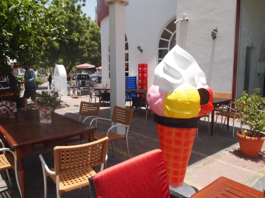 ice cream cone in front of Costa Coffee on Qurum Beach